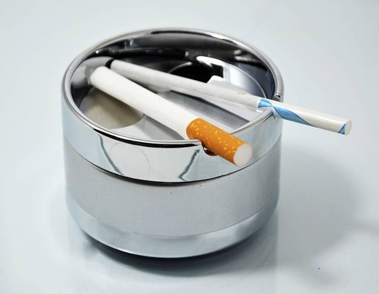 Пепельница малая металлическая серебристая 9 см диаметр купить опт