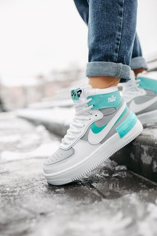 Женские кроссовки Nike Air Force Shadow white/mint high fur ( мех )