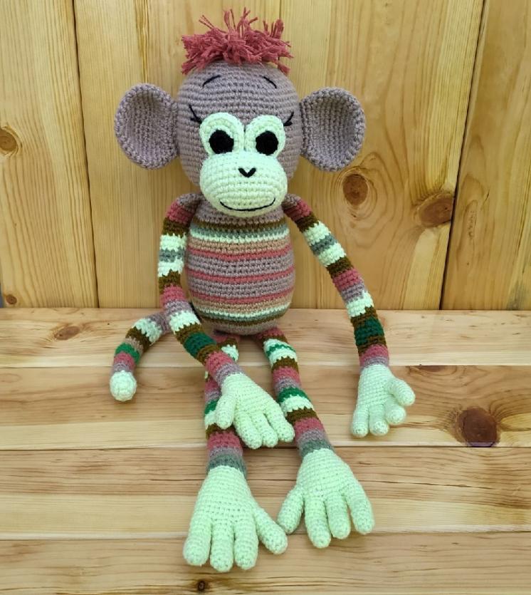 Игрушка обезьянка ручной работы, мартышка, вязаная обезьяна.