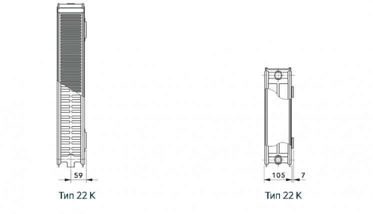 Радиатор Vogel&Noot 22K 500х1200 боковое подключение