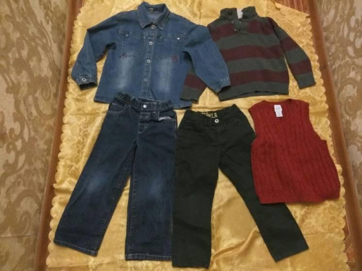 Свитер реглан, рубашка джинсовая, джинсы, жилетка,4 года,104-110 см.,