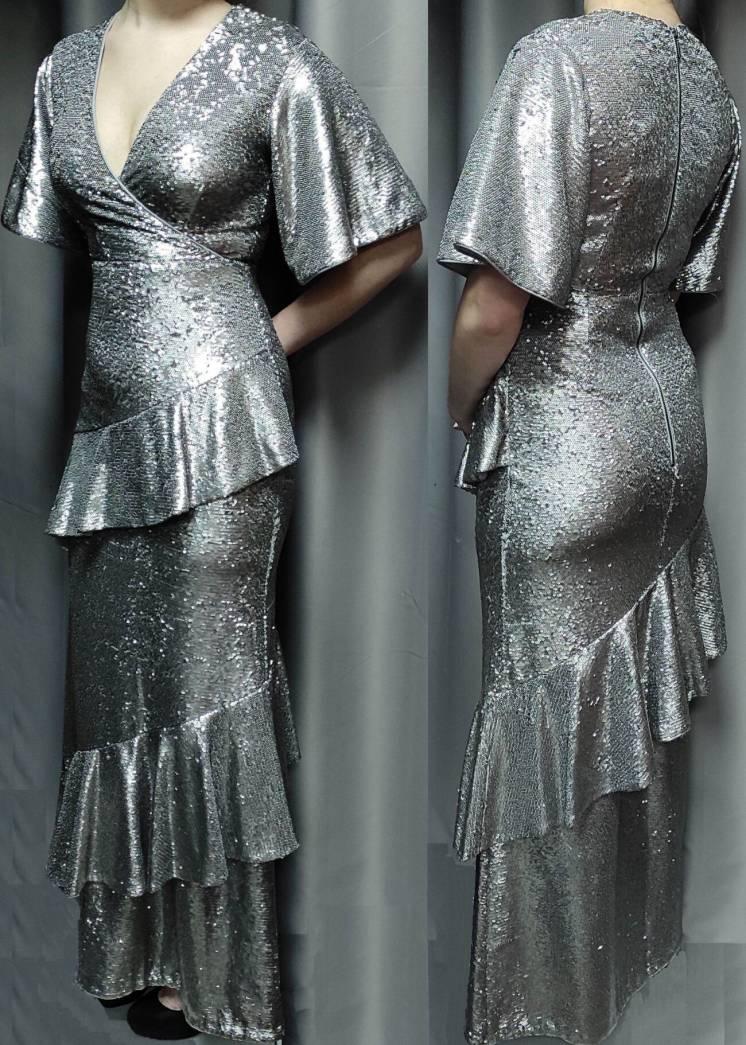 вечернее Phase Eight Metallic Starlette Sequined Dress платье длинное