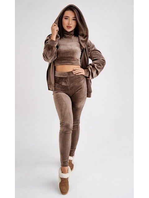 Женский Спортивный костюм тройка 28469/4 44 коричневый