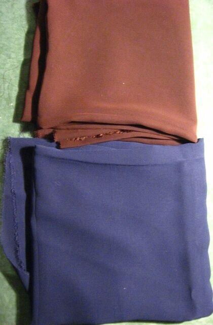 ткань шифон коричневая и синяя 0.8 м, торг