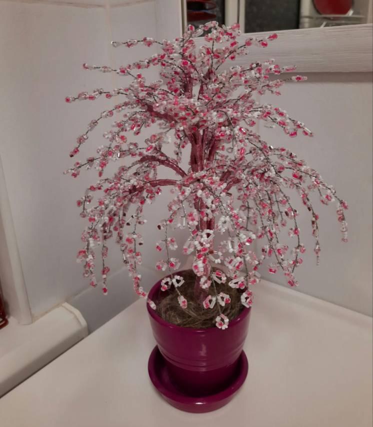 Дерево Из Бисера Розовое 34см ива