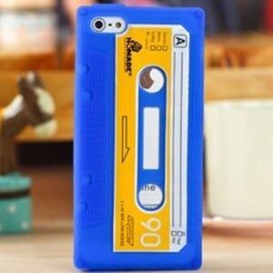 Чехол силиконовый Ретро кассета Синяя для IPhone 5