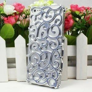 Чехол накладка Королевский цветок Серебряный для IPhone 5