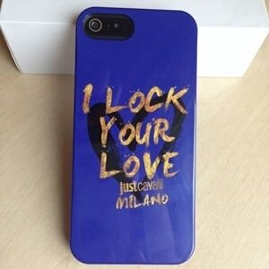 Силиконовый чехол Justcavalli I lock your love Синий для IPhone 5