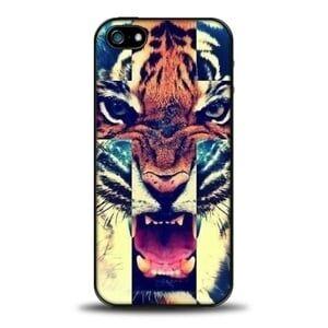 Пластиковый чехол Tiger Тигр с крестом для IPhone 5