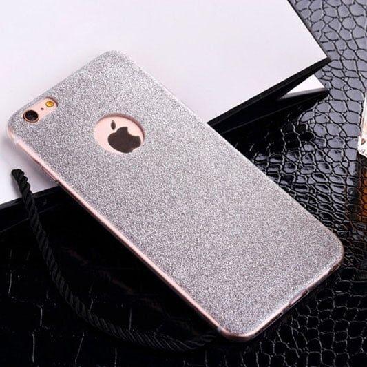 Cиликоновый чехол Блестки Серебро для iPhone 5&5s&5se