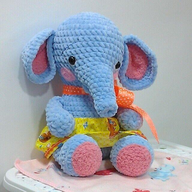 Новая вязаная Мягкая игрушка Prezzzent_ Слон Слоник Слоняшка Hand Made