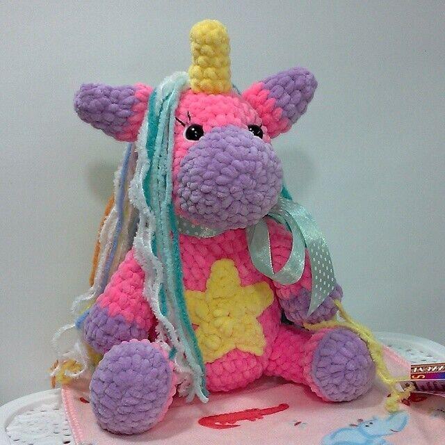 Новая вязаная Мягкая игрушка Prezzzent_ Единорожка Розовая Ручная рабо