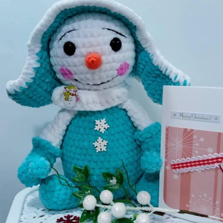 Новая вязаная Мягкая игрушка Prezzzent_ Снеговик Снеговичок Бирюзовый
