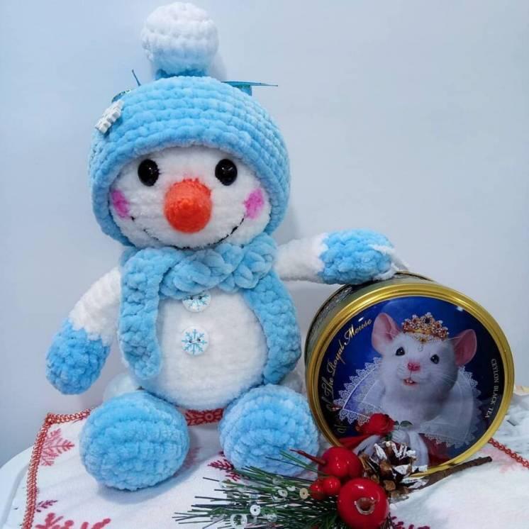 Новая вязаная Мягкая игрушка Prezzzent_ Снеговик Снеговичок Hand Made