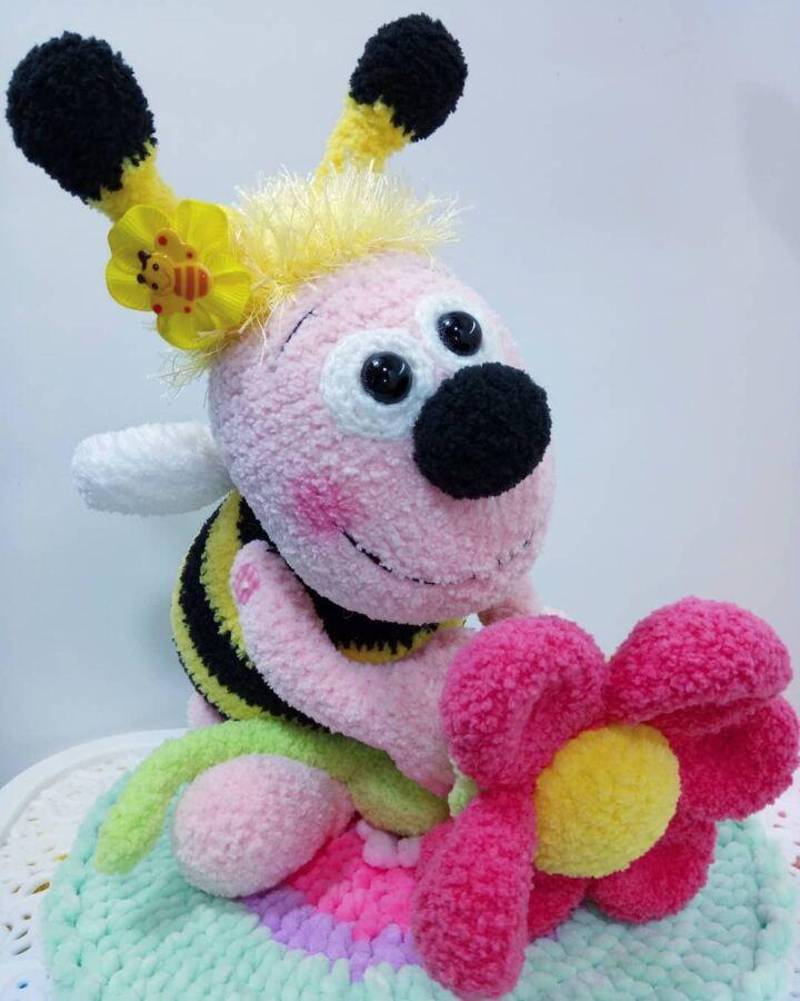 Новая Мягкая игрушка Prezzzent Пчелка с цветком Hand Made Ручная работ