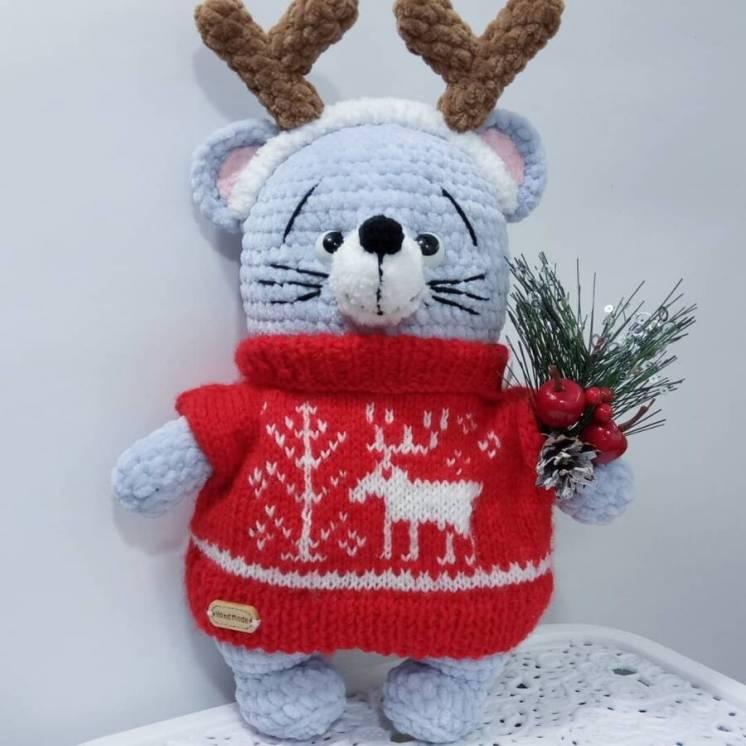 Новая вязаная Мягкая игрушка Prezzzent_ Мышка в жаккардовом свитере