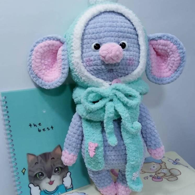 Новая вязаная Мягкая игрушка Prezzzent_ Мышка Лялька Hand Made Ручная