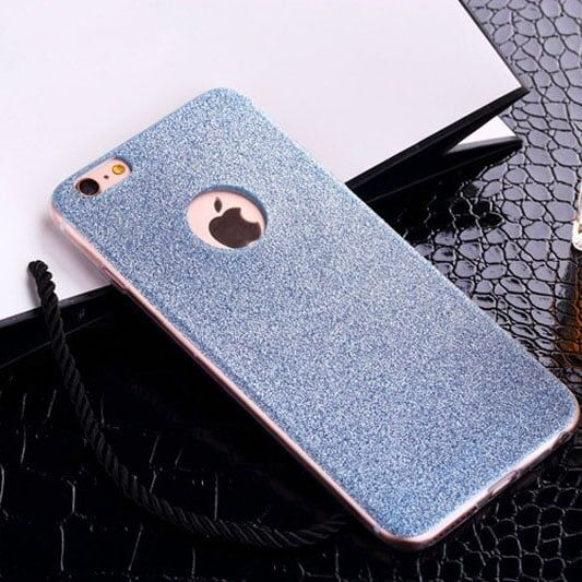 Cиликоновый чехол Блестки Голубые для iPhone 5&5s&5se