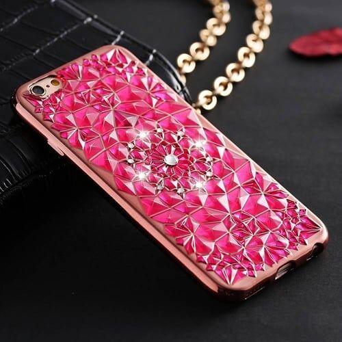 Силиконовый чехол Floveme с стразами Розовый для IPhone 7