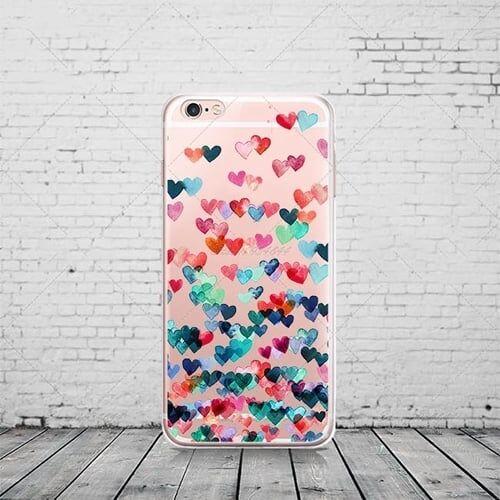 Cиликоновый чехол Colored Hearts для iPhone 8
