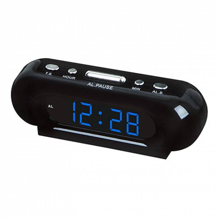 Мережевий годинник 716-5 сині цифри 220V настольные сетевые часы