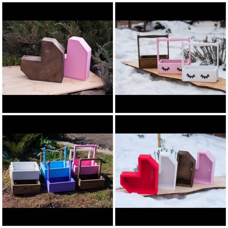 Декоративные деревянные ящики сердца корзины кашпо корзины боксы