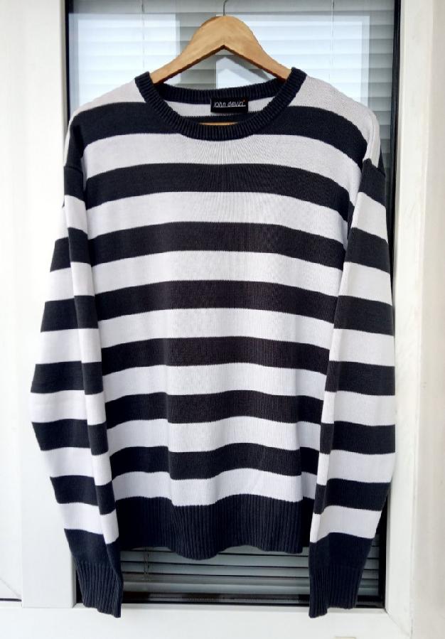 Мужской свитер пуловер в полоску John Devin Германия.
