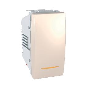 Выключатель кнопочный проходной 1-мод. 16А с подсветкой Белый, Слонова