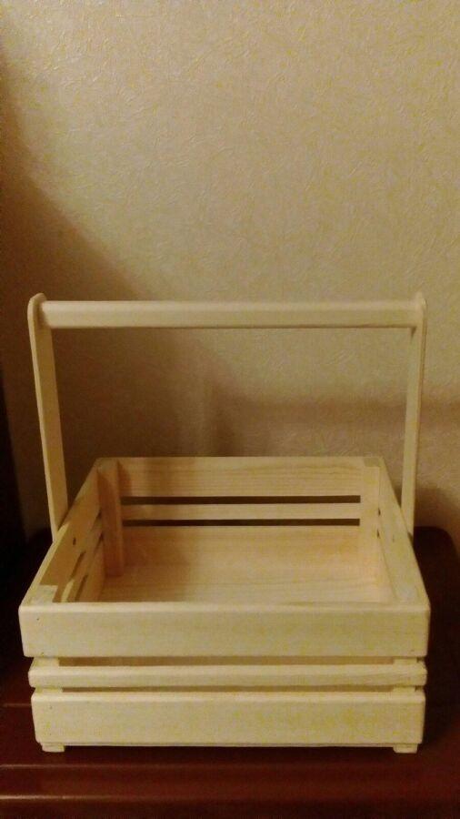 Деревянная корзинка (кашпо) для оформления подарков