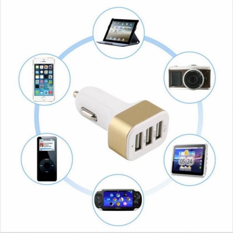 Автомобильное зарядное устройство на 3 USB 2100 мAч