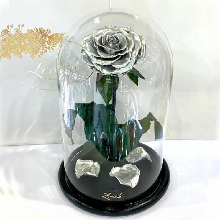 Серебряная роза в колбе Lerosh - Lux 33 см