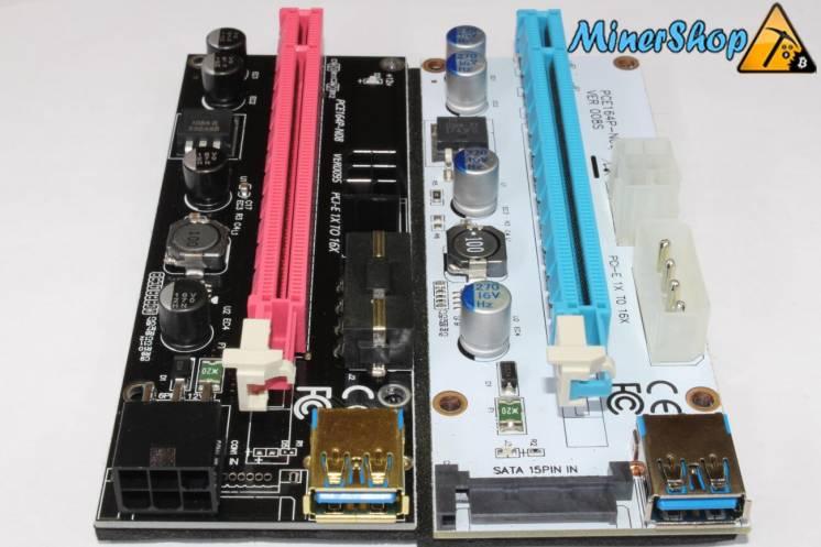 Райзер универсальный с LED индикацией(Riser PCI-E 1x to 16x USB 3.0)