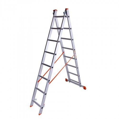 Лестница двухсекционная алюминиевая Laddermaster Sirius A2A8. 2x8 ступ