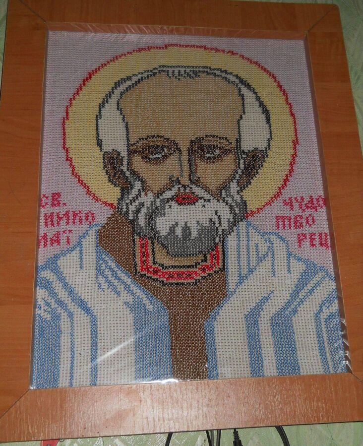 Вышитая икона Николай Чудотворец