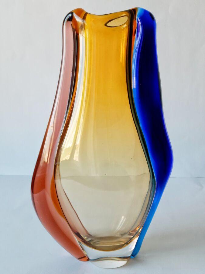 Большая Ваза ART GLASS цветное стекло Чехия 1960 автор HANA MACHOVSKA