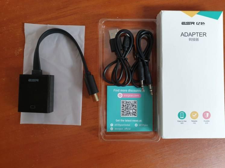 Адаптер переходник HDMI в VGA + аудио выход + доп питание ESR Оригинал