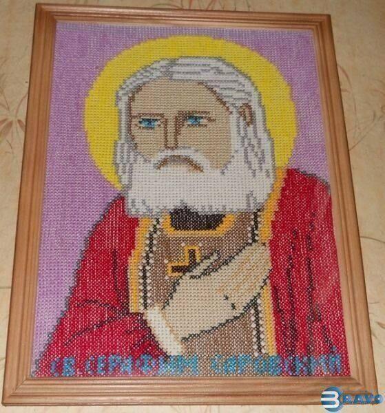 Вышитая икона Серафим Саровский