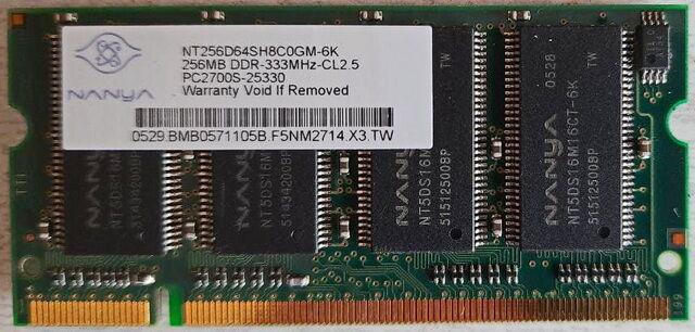 Оперативная память для ноутбуков NANYA 256MB DDR - 1 планка