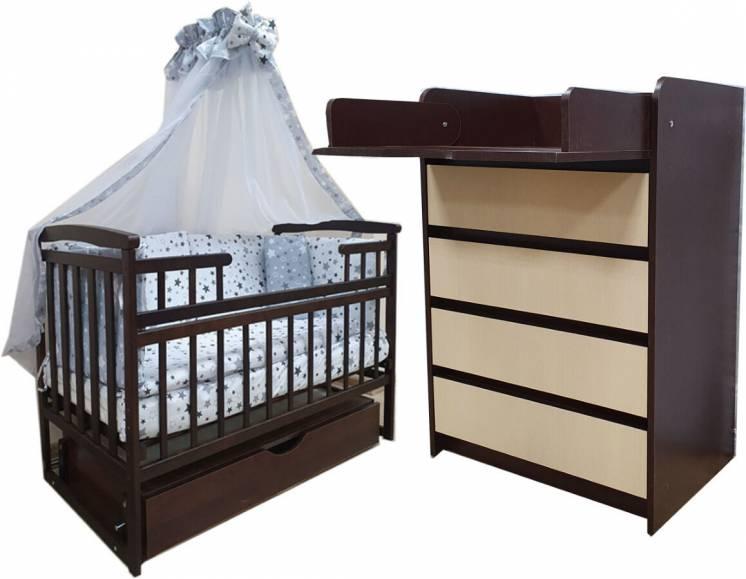 Акция! Премиум комплект: кроватка, комод, матрас кокос, постель. New