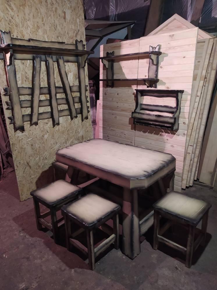 Мебель из массива СТОЛ и Табуреты ( вешалка, винная полка, рустик )