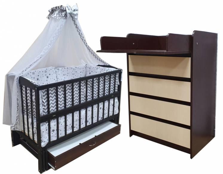 Акция! Комплект: кровать маятник, комод, матрас кокос, постель. New