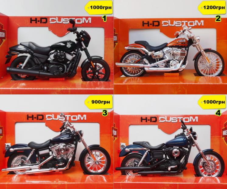Модель мотоцикла Harley-Davidson 1:12 разные модели новые в коробках