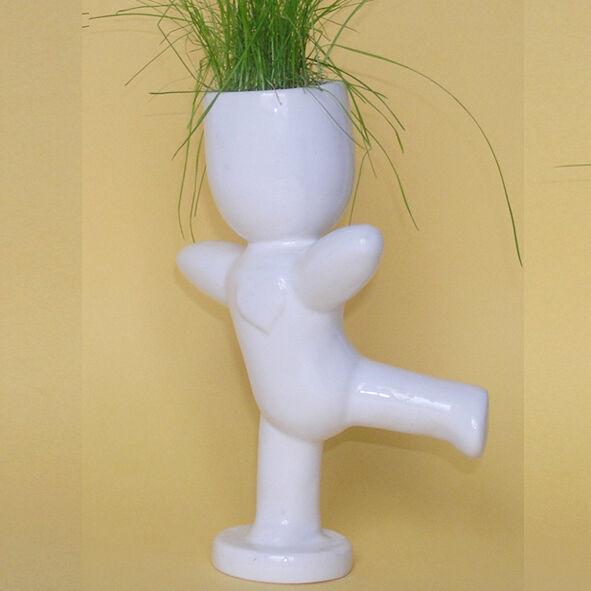 Экочеловечек Танцор . Травянчик. Горшочек с травой и землей. Сувенир