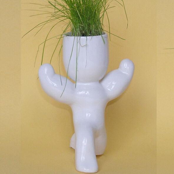 Экочеловечек  Атлет .Травянчик. Горшочек с травой и землей. Сувенир