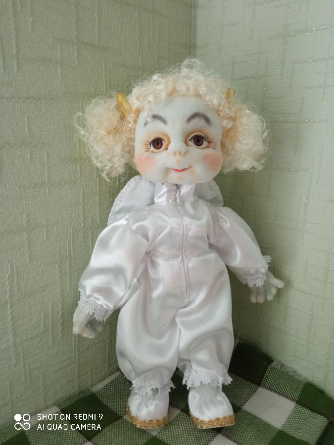Интерьерная кукла Ангелочек ручная работа Чулочная Техника оберег