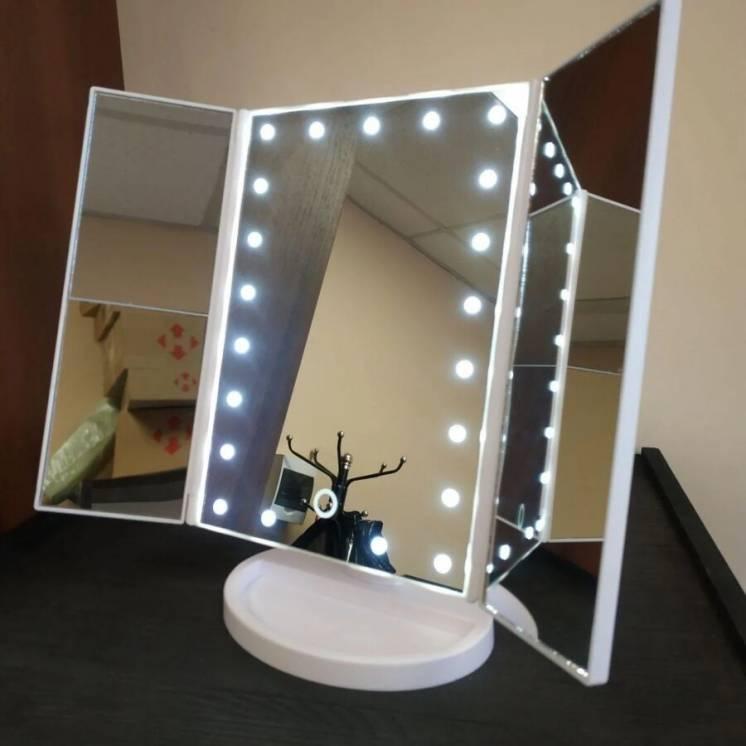 Настольное складное зеркало для макияжа с LED-подсветкой. Сенсорное!