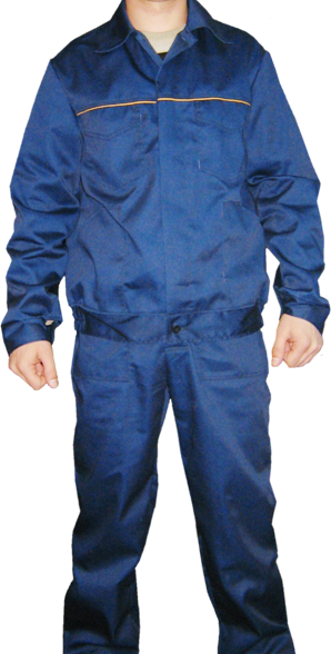 Синий рабочий костюм с оранжевым кантом