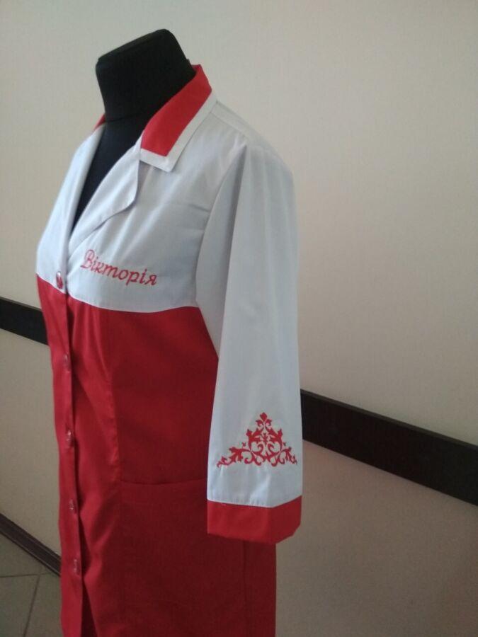 Халат для сферы обслуживания, бело-красный