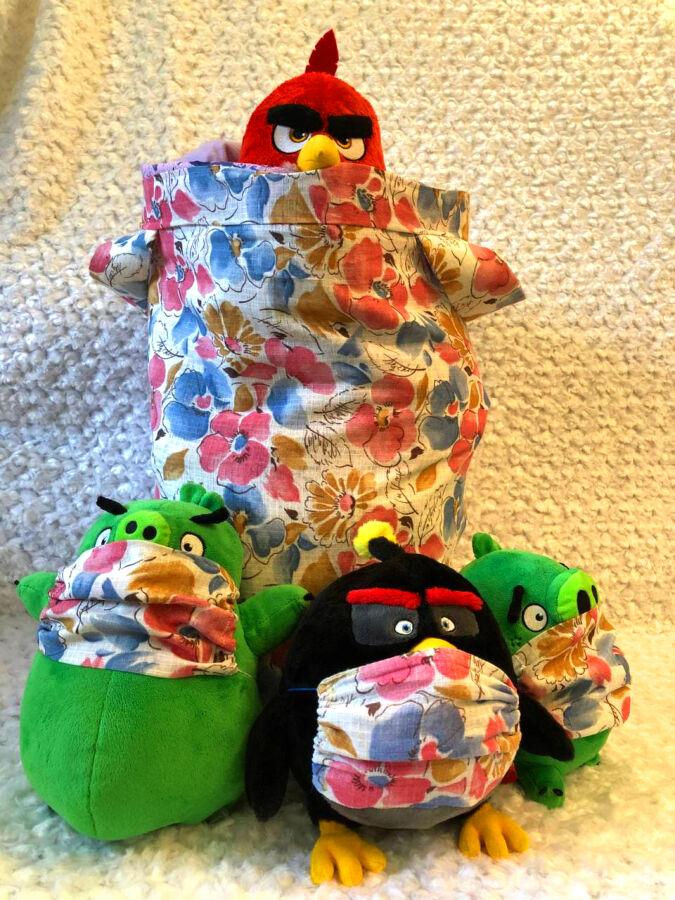 Корзина для игрушек ручной работы, маски в подарок 3 шт