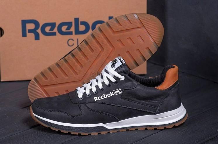 Чоловічі натуральні шкіряні чорні кросівки Reebok